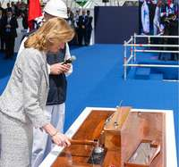 "Fincantieri, May 25, 2019 in Castellammare di Stabia (Naples). Launch of ""Trieste"" naval ship: godmother of the ceremony was Laura Mattarella, daughter of the Italian President."