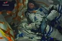 Photogram of the moment of accident of Soyuz launch vehicle
