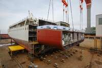 "February 4, 2021.The keel laying of ""Viking Mars"", the eighth ocean cruise ship which Fincantieri is building for the shipowner Viking, took place at the shipyard in Ancona"