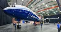 The new Boeing B-777/9X aircraft in Everett plant
